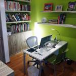 Libreros, iluminación y mobiliario