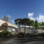Vista de tienda ancla y acceso principal a plaza